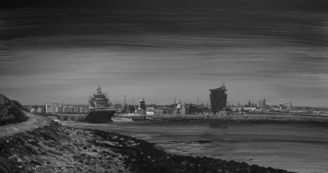 Low Tide, Aberdeen Harbour Painting
